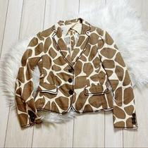 Moschino Linen Giraffe Animal Print Blazer Jacket Size 10 Tan Cream Brown Photo