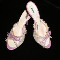 Moschino Luxe Spring Ready Rose Pink Straw Stilleto Mules Slides Heels 40/9  Euc Photo