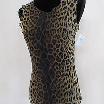 Moschino Mare Leopard Tank Top Sheer Sz Us 36/l Nwt 135 Photo