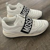 Moschino Mens Leather Logo Strap Dad Sneakers White Size 43 Photo