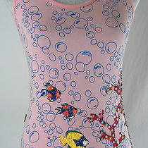 Moschino Pink Blue 40/ Us 6 Beaded Sequins Fish & Bubbles Under the Sea Tank Top Photo