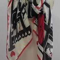 Moschino Red Black Ivory Apartment Windows Silk Scarf Photo