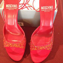 Moschino Red Lace Tie Up Shoes Never Worn Size 38 Photo