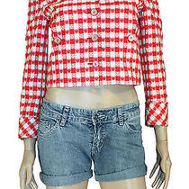 Moschino Red Mix Hearts and Clover Printed Crop Jacket Photo