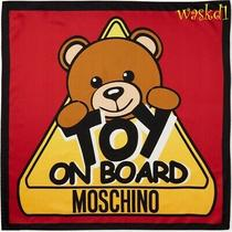 Moschino Red Signature Bear Toy on Board Silk Scarf 26