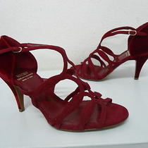 Moschino Sandals in Suede and Velvet Red Size 7 Made in Italy Photo