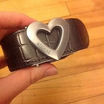 Moschino Shiny Gray Reptile Skin Leather Belt W/ Silver Heart Size M Photo
