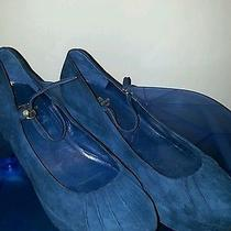 Moschino Suede Blue Wedge Size 37 Photo