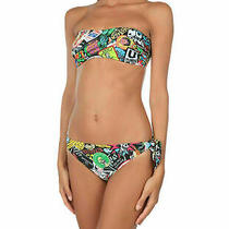 Moschino Swimsuit Bandeau Bathing Suit Two Piece Bikini Vibrant Print Sz 38 Us 4 Photo