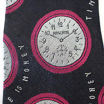 Moschino Vintage 100% Silk Tie Time Is Money Clocks All Over Unique & Rare Navy Photo