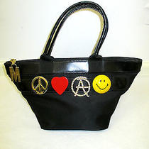 Moschino Vintage Black Nylon Tote W/ Leather Accents and Moschino Theme Pins Photo