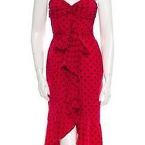 Moschino Vintage Spaghetti Strap Red Silk Polka Dot Ruffle Belted Dress It42 Us6 Photo