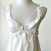 Moschino White Cotton Sleeveless Ruffle Top Sz 38 or Xs Euc Photo