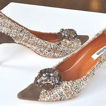 Moschino Women's Designer Shoes Brown Pump With Jewel Brooch Size 40 Photo