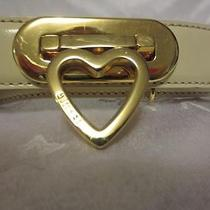 Moschino Womens Off White Creme Leather Gold Heart Buckle Belt Size 42 Italy Photo