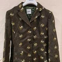 Moschino Womens Vintage Vtg Brown/green Floral Wool Blazer Jacket Size Medium Photo