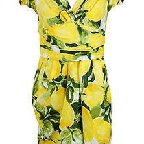 Moschino Womens Yellow Short Sleeve Floral Print Bubble Tea Dress 10 595 New Photo