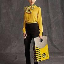 Moschino Yellow Tape Measure Silk Blouse in Size It46 Photo