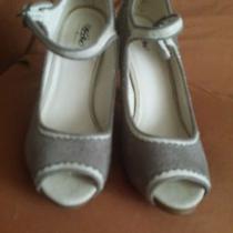 Mossimo Beige Canvas Peeptoe High Heel Shoes Size 5.5 M Photo