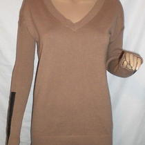 Mossimo Beige New v-Neck Sweater Faux Leather Wrist Accents Size Small S Cotton Photo
