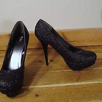 Mossimo Black Glitter Stiletto Platform Heels 10 Closed Toe Pumps Sparkle Photo