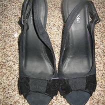 Mossimo Black Micro Suede Slingbacks Size 8 (2032) Photo