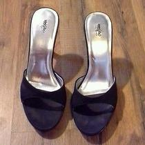 Mossimo Black Satin Open Toe Slip-on Heels Photo
