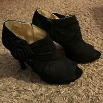 Mossimo Black Spike Heels Zipper Open Toe Size 7.5 Women's Shoes Photo
