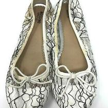 Mossimo Black & White Lace Floral Geometric Bows Ballet Flats Shoes Size 6.5 M Photo