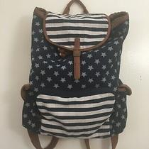 Mossimo Blue Stars and Stripes Backpack Purse W Brown Trim Large Bag  Photo