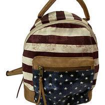 Mossimo Blue Stars  Stripes Small Backpack Purse Lt Brown Trim Usa Flag  Photo