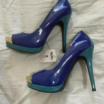 Mossimo Blue & Teal Nwt Size 8 Open Toe Pumps High Heels Photo