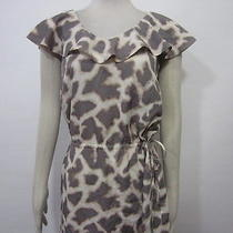 Mossimo Cream Gray Abstract Wild Animal Print Ruffle Drop Waist Casual Dress M Photo