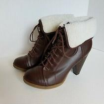 Mossimo Dark Brown Boots Size 8.5 Faux Fur Lined Lace-Up High Heel Ankle Bootie  Photo