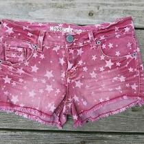 Mossimo Denim Shorts 3 Low-Rise Lightly Distressed Red W/ White Stars Xs Photo