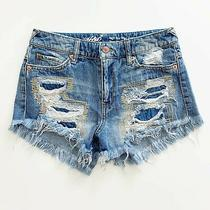 Mossimo Denim Women's Jean Shorts Size 25 High Rise Destroyed Embroidered Blue Photo
