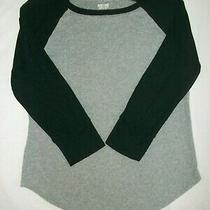 Mossimo Girl's T-Shirt 3/4 Sleeve Top Size Xs Gray Black Sleeve Cotton Euc Photo