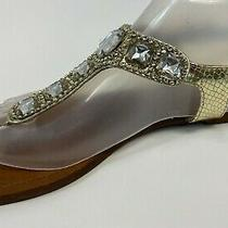 Mossimo Gold W/rhinestone Manmade Materials T-Strap Flat Thong Sandals Sz 8.5 M Photo