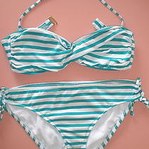 Mossimo Green/white Striped Bikini Photo