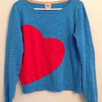Mossimo Heart Sweater Medium Blue With Red Heart Photo