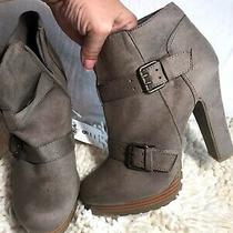 Mossimo High Heeled Ankle Boots Brown Grey Nwt Sz 9 Fall Winter Spring Booties Photo
