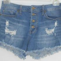 Mossimo High Rise Stretch Button Fly Distressed Raw Hem Blue Jeans Shorts Sz 10 Photo
