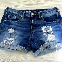 Mossimo Jean Shorts Size 4  Blue Denim Distressed Stretch Mid Rise Photo