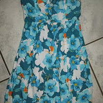 Mossimo Juniors Aqua Floral Print Strapless Dress Size Small Ln Photo