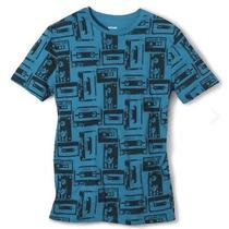 Mossimo Mens All Over Tape Print T Shirt - Graphic Print - Blue Sz Large Nwt Photo