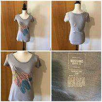 Mossimo Misses Jr Xs Gray Burnout Feather Graphic Cap Sleeve Casual Tee T Shirt Photo