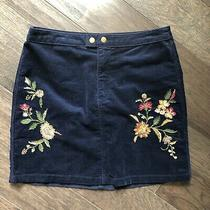 Mossimo Navy Floral Embroidered Mini Skirt Sz 8 Photo