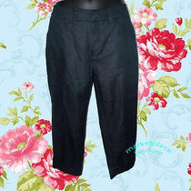 Mossimo New Stretch Jeans Pants Dark Slit Pocket Fit 4 Cropped Capris Size 2  Photo