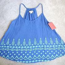 Mossimo Nwt New Blue Embroidery Top Free Boho Spaghetti Strap Rayon S Small Photo