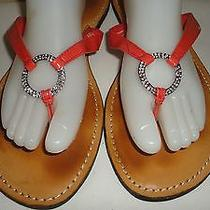Mossimo Orange Coral Flip Flop Sandals Women's Size 11 Silver Rhinestone Ring Photo